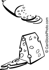 Cheese and sausage on a white background. Vector illustration.