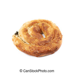 Cheese and spinach pastry bun isolated over the white...