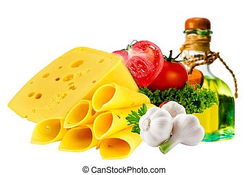 Cheese and tomato on isolated background.