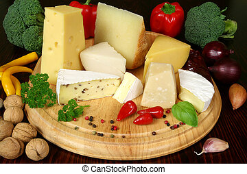 Cheese and vegetables - Variety of cheese and vegetables:...