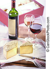 Cheese and wine - Tomme de Savoie, a semi firm french cheese...