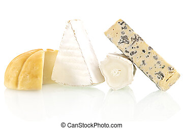 Cheese assortment - Various cheese sorts isolated on white...