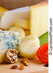 Cheese background - Background with different gourmet cheese