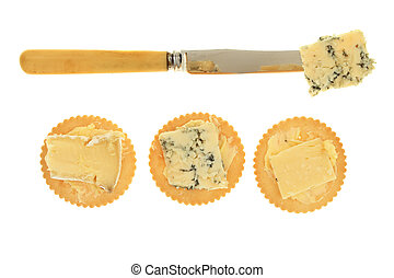 Cheese biscuits and knife
