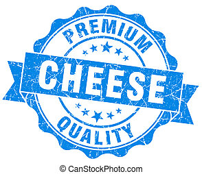 cheese blue grunge seal isolated on white