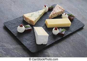 cheese board - cheese selection platter board