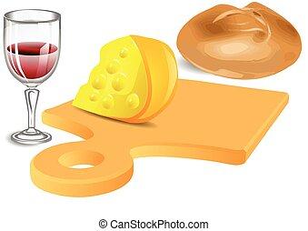 Cheese, bread, wine