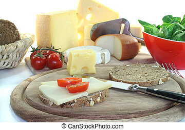 Cheese bread with tomato