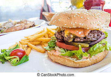 American cheese burger with Golden French fries