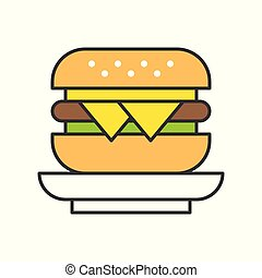 cheese burger, food and gastronomy set, filled outline icon