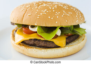 Cheese burger - Homemade cheese burger on the plate over...