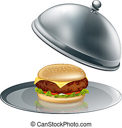 Cheese burger on silver platter - Illustration of a cheese ...
