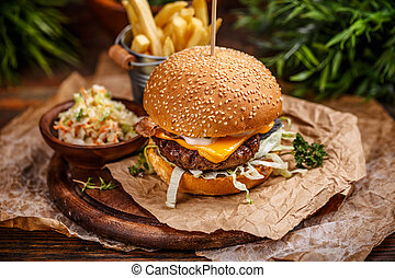Cheese burger with grilled meat