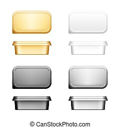 Cheese, butter or margarine container with lid mockup - front, top view. Blank white, silver, gold, black plastic food package: cream, yogurt, spread. Product template. Isolated 3d vector illustration