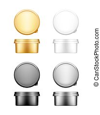 heese, butter, margarine round container with lid mockup - front, top view. White, silver, gold, black plastic food package: yogurt, dessert, spread. Product template. Isolated 3d vector illustration