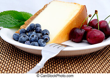 Cheese Cake, Cherries And Blueberries - Seasonal fruit with...