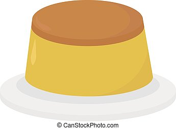 Cheese cake, illustration, vector on white background.