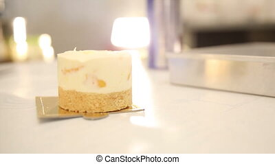Cheese cake tart at bakery before decoration with copy space
