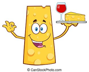 Cheese Cartoon Mascot Character Holding Up A Wine Glass And Wedge Of Yellow Cheese