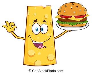Cheese Cartoon Mascot Character Presenting A Perfect Burger