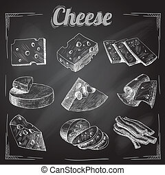 Cheese chalkboard collection - Chalk board cut sliced cheese...
