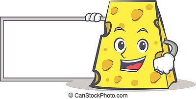 cheese character cartoon style with board