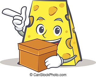 cheese character cartoon style with box