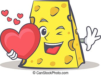 cheese character cartoon style with heart