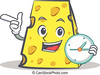 cheese character cartoon style with clock