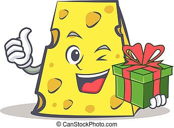 cheese character cartoon style with gift