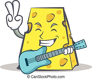 cheese character cartoon style with guitar