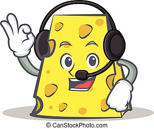cheese character cartoon style with headphone
