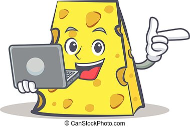 cheese character cartoon style with laptop