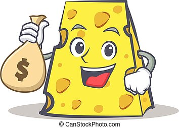 cheese character cartoon style with money bag