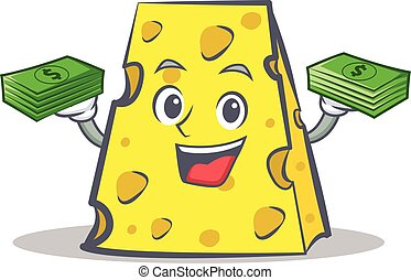 cheese character cartoon style with money