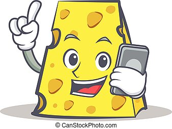 cheese character cartoon style with phone