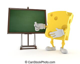 Cheese character with blank blackboard