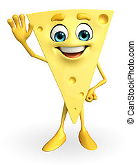 Cheese Character with hello pose - Cartoon Character of...
