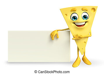 Cheese Character with sign - Cartoon Character of Cheese...