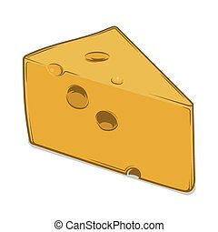 Cheese Chunk isolated on a white background. Colored line...