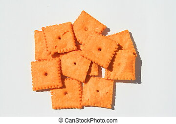 Cheese Crackers - Close up of orange cheese crackers.