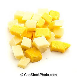 cheese cubes isolated on a white background
