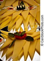 Cheese cucumber platter