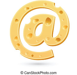 Cheese e-mail mark. Symbol isolated on white.