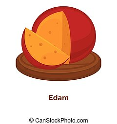 Cheese Edam sort vector flat isolated slice icon on wooden platter