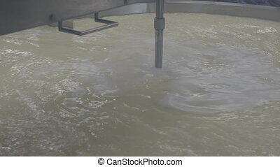 Cheese factory. Process of fermentation of milk and whey...