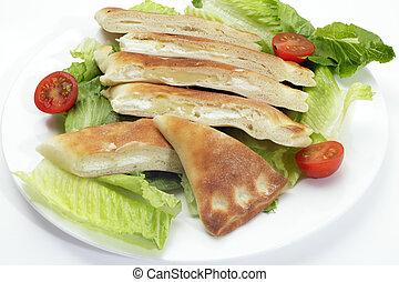 Cheese fataya with salad