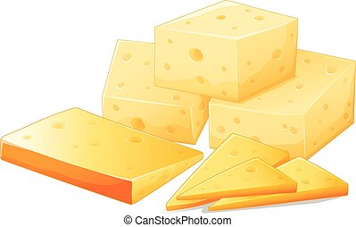 Flashcard of different shapes of cheese