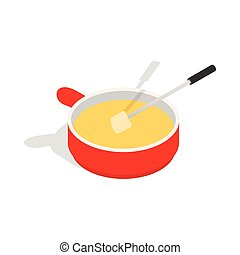 Cheese fondue icon, isometric 3d style