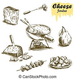 cheese fondue sketches - hand drawn sketches of cheese...